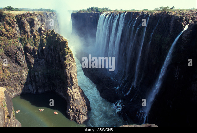 Eastern edge Victoria Falls from Zambia, view into Zimbabwe, Africa - Stock Image