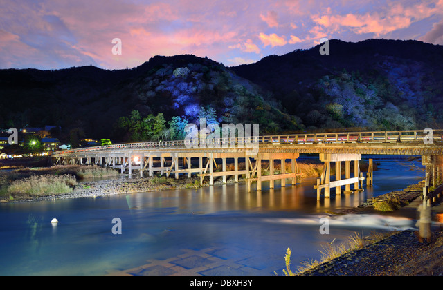 Katsura River and Togetsukyo Bridge in Arashiyama, Kyoto, Japan. - Stock-Bilder