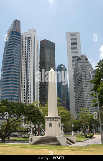 CBD skyscrapers from Empress Place, Civic District, Singapore Island, Singapore - Stock Image