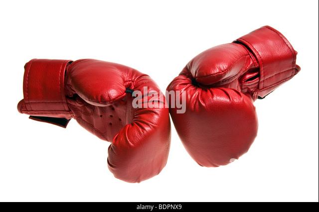Boxing gloves isolated on white - Stock Image