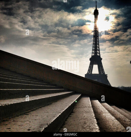 France, Paris, Eiffel Tower seen from steps - Stock Image