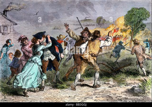 Minutemen leaving for the Battle of Concord Massachusetts 1775 - Stock Image