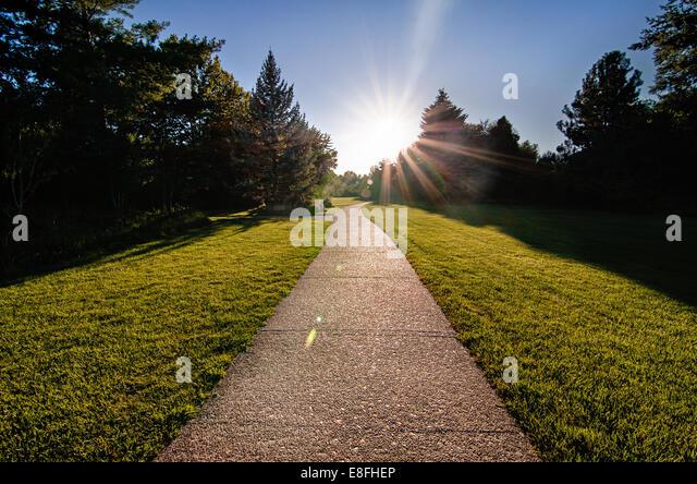 USA, Idaho, Boise, Albersons Park,  Bright Path Leading Forward - Stock Image