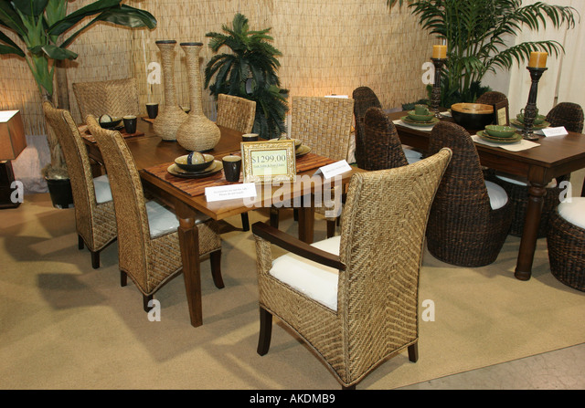 Miami Beach Florida Convention Center Home Design and Remodeling Show imported furniture Indonesia exhibit - Stock Image