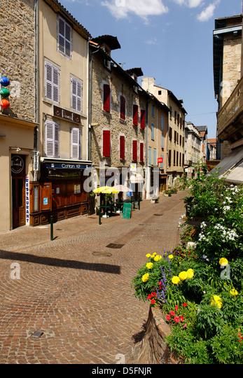 Rue de la République, Villefranche de Rouergue, Aveyron, France - Stock Image
