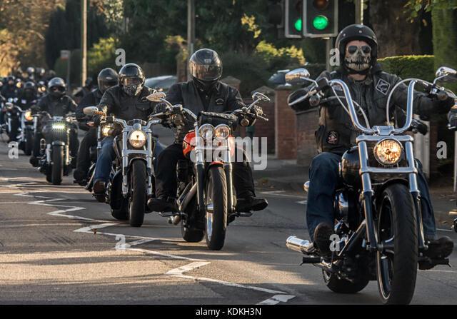 Melton Mowbray, UK. 14 October 2017. Around 100 Motorcycle bikers ride along the A606 into Melton Mowbrey. Credit: - Stock Image