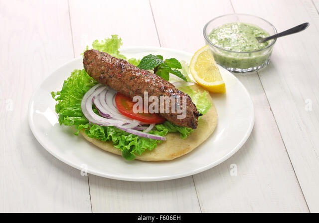 mutton seekh kabab kebab sandwich with mint chutney - Stock Image