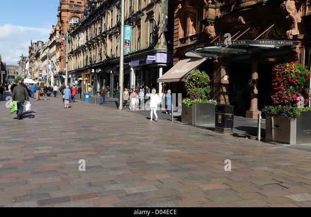 Buchanan Street pedestrian precinct in Glasgow city centre, Scotland, UK - Stock Image