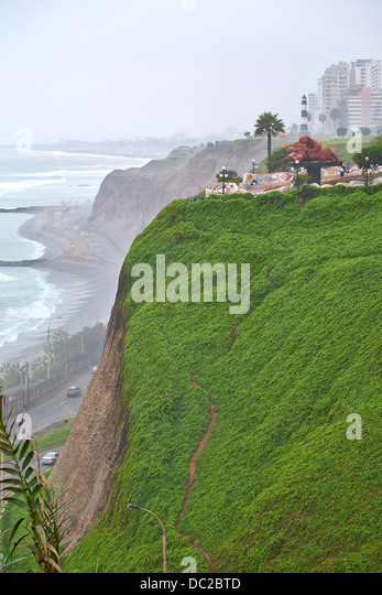 El Parque del Amor is a on the cliffs of Miraflores and devoted entirely to romance. Lima, Peru. - Stock Image