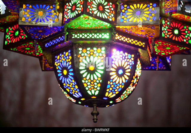 Beautiful colorful arabic lamp, brass with colored glass. - Stock Image