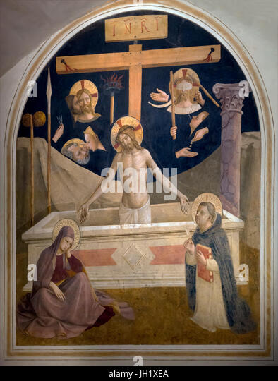 Christ coming out of the tomb, Cell 26, by  Fra Beato Angelico, 1440-1442, Convent of San Marco, Florence, Tuscany, - Stock Image