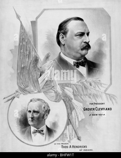 For president, Grover Cleveland of New York, For Vice-President, Thomas Hendricks of Indiana, USA Presidential Election - Stock Image