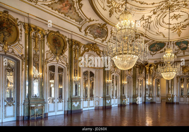 The Ballroom in the National Palace of Queluz - Lisbon - Portugal. It was designed by Robillon in 1760. - Stock Image