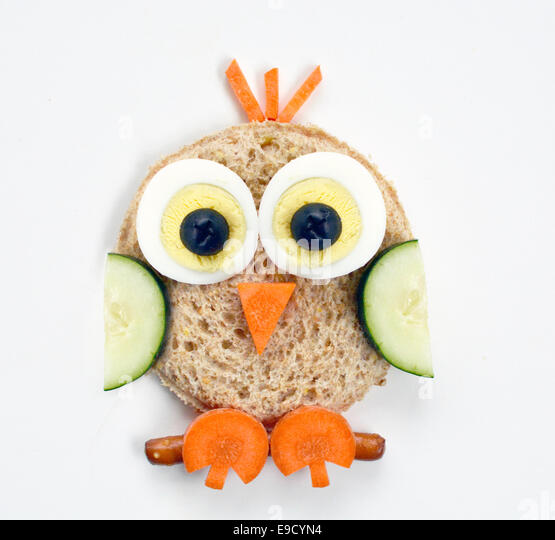 Owl food art - Stock Image