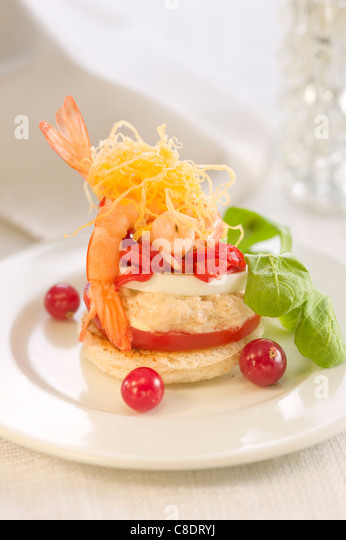 Shrimp,tuna and red pepper canapé - Stock Image