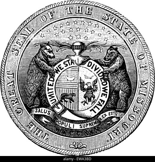 Seal of the State of Missouri, vintage engraved illustration.  Trousset encyclopedia (1886 - 1891). - Stock Image