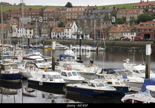 UK, England, Whitby, Whitby Harbour, boats, - Stock Image