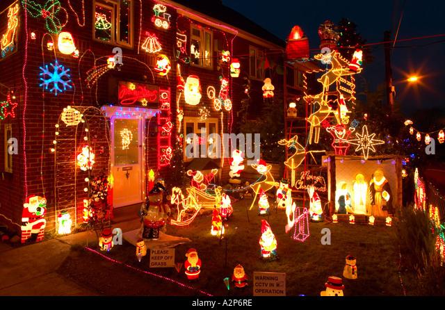 Christmas Decorations House Exterior Stock Photos