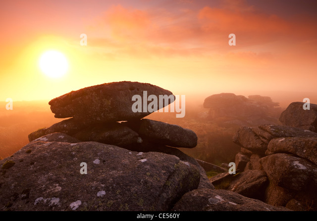 Mist on Littaford Tor at sunrise, Dartmoor, Devon, England. Autumn (October) 2011. - Stock Image