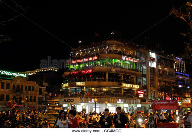The 'Ham Ca Map' building is seen before Earth Hour in Hanoi March 31, 2012. Earth Hour, when everyone around - Stock Image
