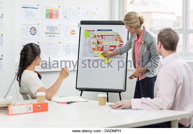 Business people looking at diagram in meeting room - Stock Image