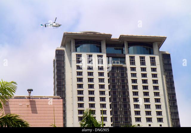 Hong Kong China Kowloon Tsim Sha Tsui Salisbury Road helicopter landing skyscraper high rise building pad The Peninsula - Stock Image