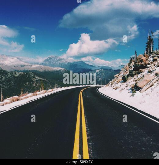 Mountain Road in Colorado - Stock Image