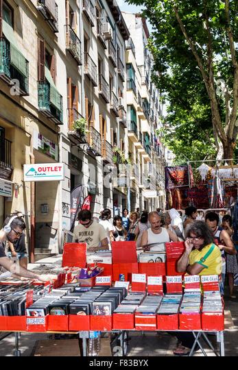 Spain Europe Spanish Hispanic Madrid Centro Barrio de La Latina el Rastro flea market Plaza de Cascorro Ribera de - Stock Image