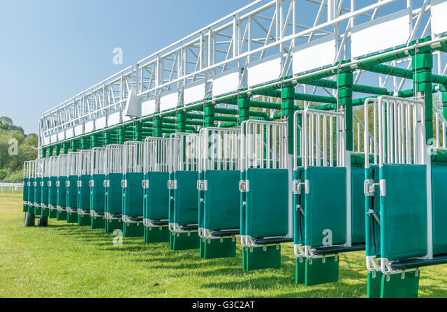 Horse racing starting gate - Stock Image