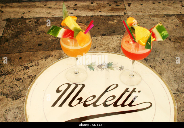 Speciality drink at the Caffe Meletti Le Marche Italy - Stock Image