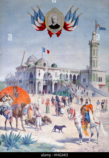 Illustration showing the Algerian Pavilion, at the Exposition Universelle of 1900. - Stock Image
