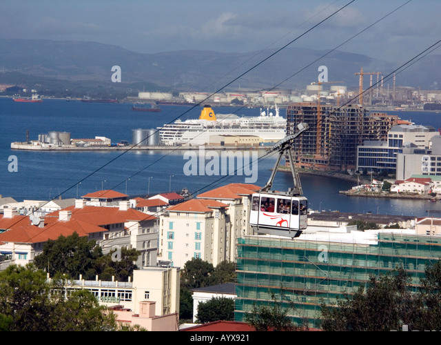 Gibraltar Cable Car takes passengers to the Upper Rock Nature Reserve, Gibraltar harbour, harbor, port,  Gibraltarian - Stock Image