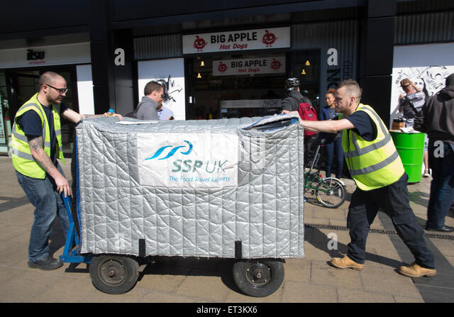 SSP group (Select Service Partner) food travel experts delivering food to one of their outlets in Euston, London, - Stock Image