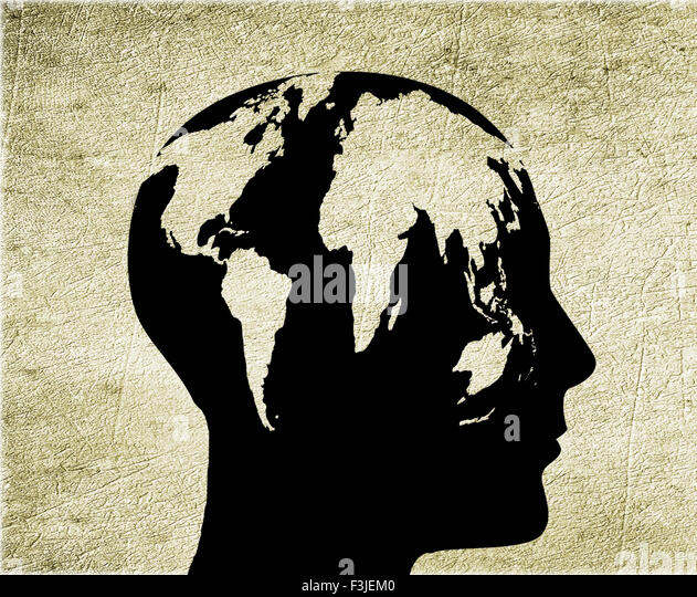 man with world head digital illustration - Stock Image
