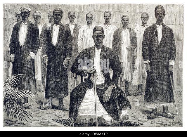 Tribal Chiefs L/R Sekeboro Chief of Chagwe, Pokino the Prime Minister, Mtesa The Emperor of Uganda, Chambarango - Stock-Bilder