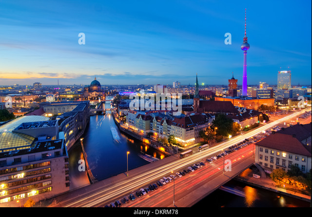 Skyline at Night, Fischerinsel, Berlin-Mitte, Berlin, Germany - Stock Image