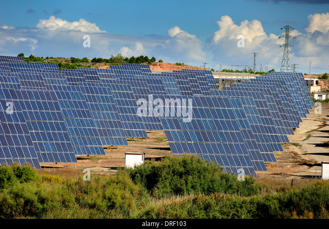 Solar power plant. Rows of photovoltaic arrays, La Rioja, Spain, Europe - Stock Image