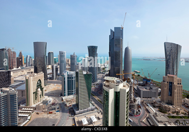 New skyline of the West Bay central financial district, Doha, Qatar, Middle East - Stock Image