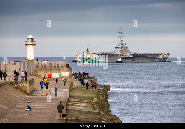 Aircraft Carrier Clemenceau Arrival at South gare Teesside England - Stock Image