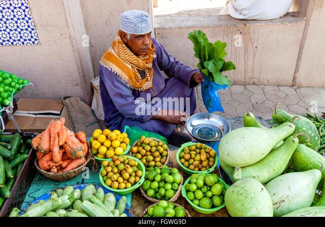 Fruit and Vegetable Market At The Nizwa Souk, Nizwa, Ad Dakhiliyah Region, Oman - Stock-Bilder