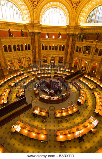 Overview of the Main Reading Room The Library of Congress Thomas Jefferson Building Washington D C U S A - Stock-Bilder