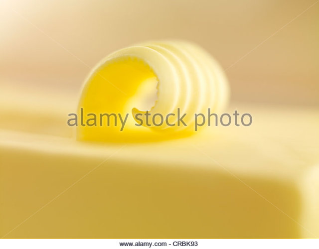 Close up of butter curl - Stock Image