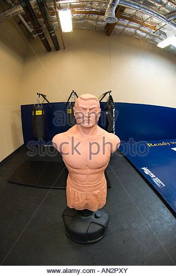 Criminal Punching Boxing Dummy in New Police department Gymnasium Gym, Tucson Arizona - Stock Image