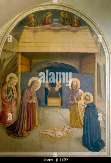 The Nativity, Birth of Christ, Cell 5, by Fra Beato Angelico, 1440-41, Convent of San Marco, Florence, Tuscany, - Stock Image