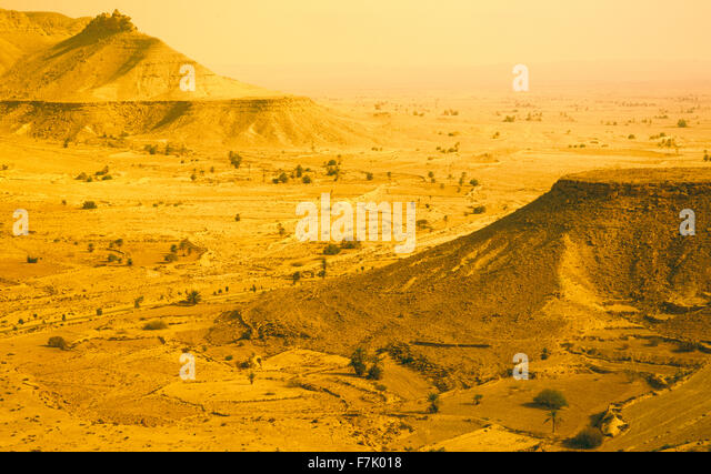 Desert lanscape near the Berber village of Chenini. Jebel region of southern Tunisia.North Africa. - Stock Image
