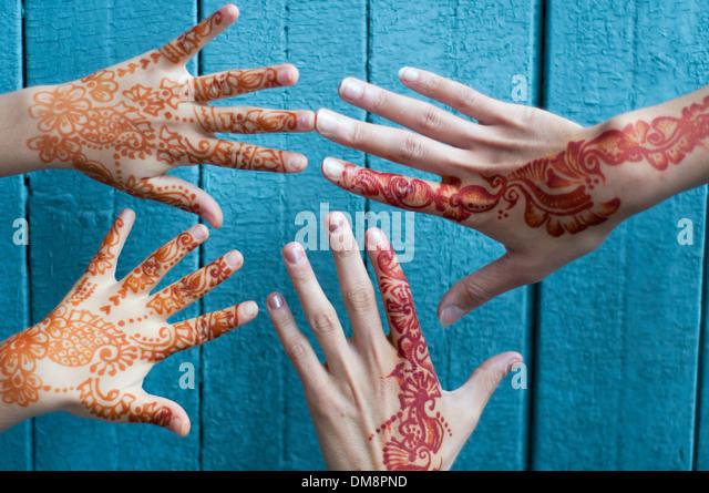 Hands painted with Henna - Stock-Bilder