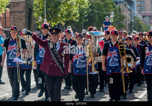 The Moomba Festival celebrated with a parade only in Melbourne Australia - Stock Image