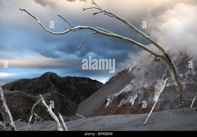 November 28, 2009 - Chaiten eruption, steaming Dome, Los Lagos, Chile. - Stock Image