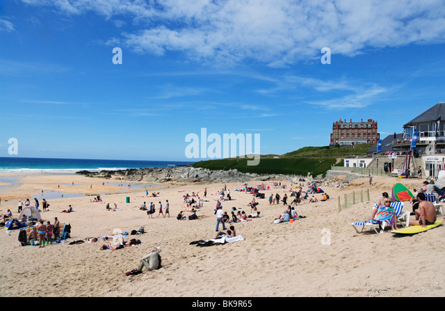 View over Fistral Beach, Newquay, Cornwall, England, United Kingdom - Stock Image