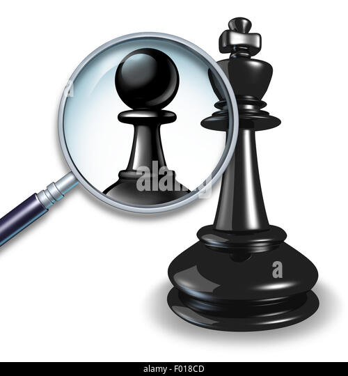 Not a leader business concept with a chess game king and a magnifying glass showing a change to a pawn follower - Stock-Bilder